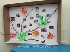 Our last art lesson was about Joseph Cornell's boxes which I learned about in Art Together. I was the only one who made a box. I used my own photographs, some twigs and painted leaves. 5yo painted the green ones for me. (8yo keeps saying he's going to make a box. We shall see.)