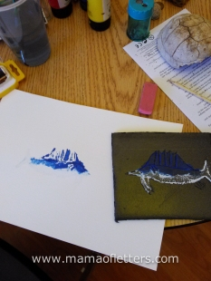 Another go at printmaking. 8yo's swordfish.