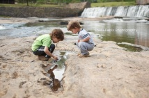 Watson Mill State Park -- discovering hundreds of tadpoles!